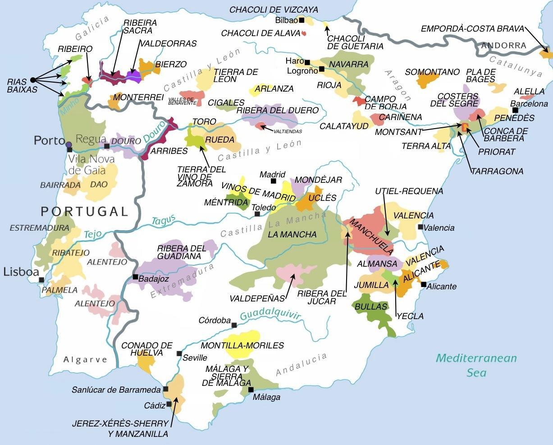 Carte Vin Espagne.Carte Des Regions Vinicoles Espagne Carte De L Espagne