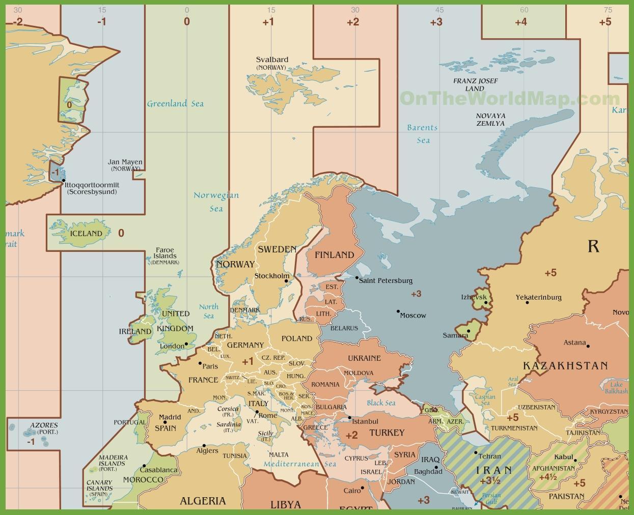 Carte Fuseaux Horaires Europe.En Espagne Du Temps De La Zone De Carte Carte De L Espagne