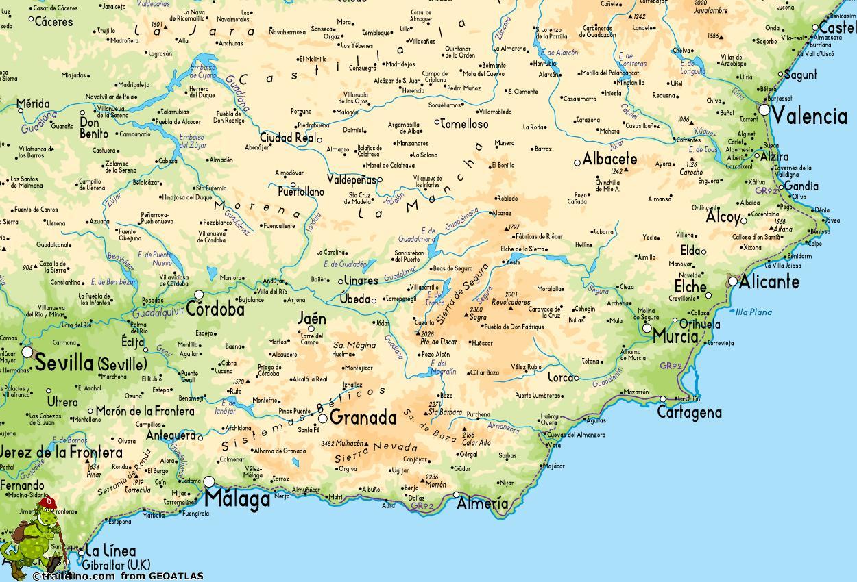 Carte Europe Du Sud Est.Carte Du Sud Est De L Espagne Carte De La Cote Sud Est De L