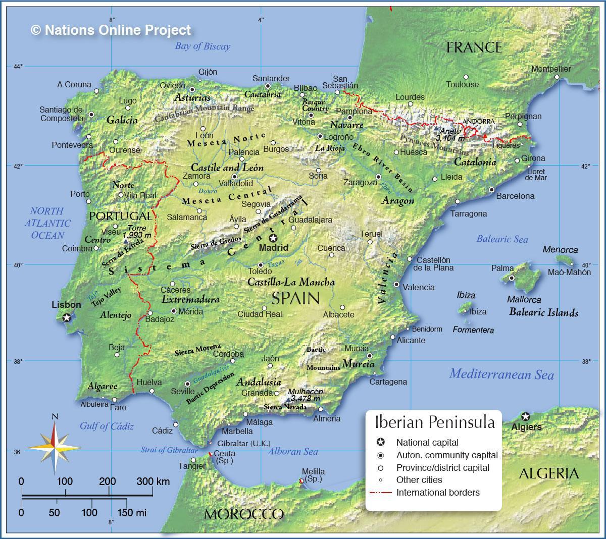 Carte Espagne Topographique.Espagne Carte Topographique Carte De L Espagne