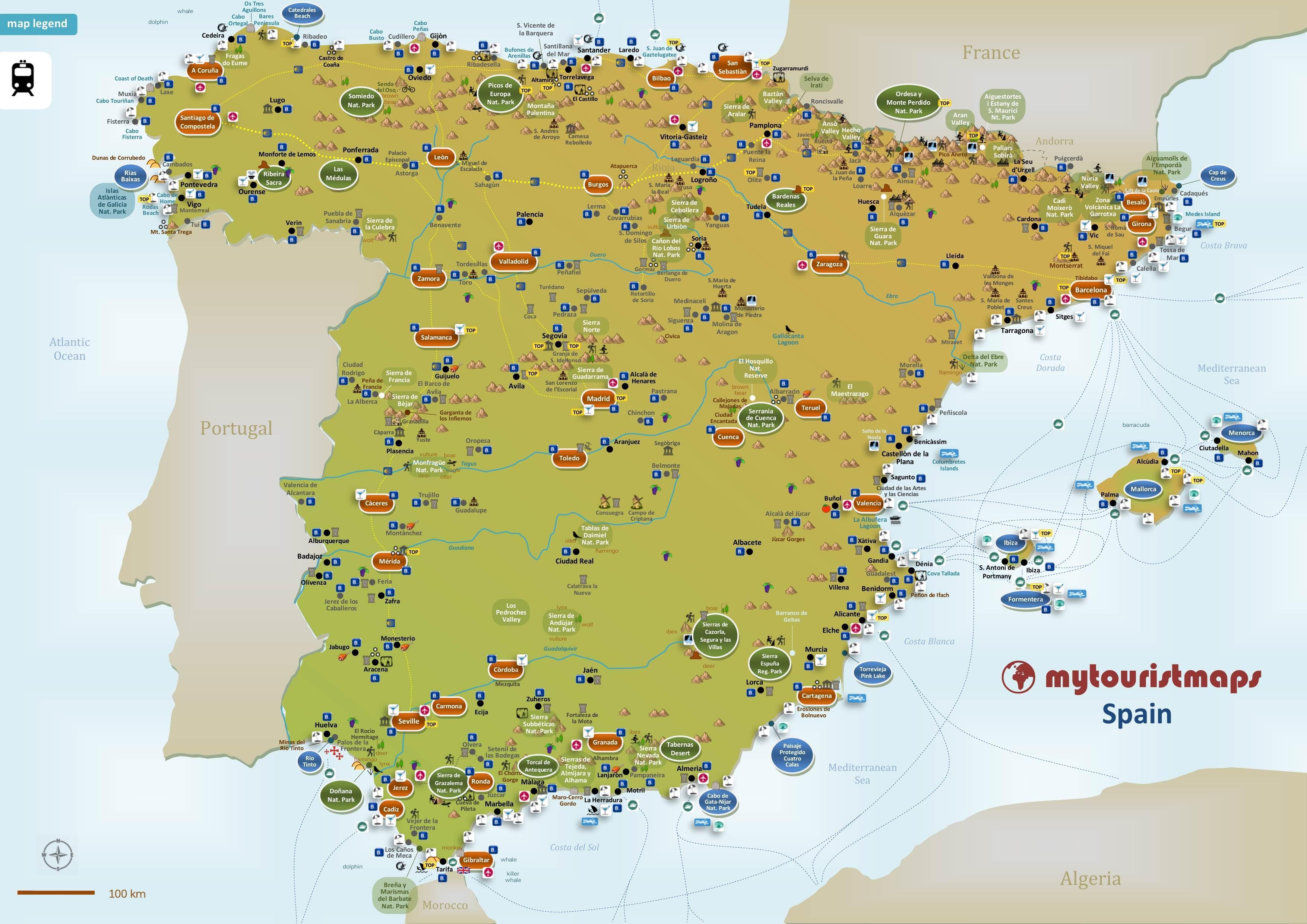 Espagne carte touristique   la Carte de tourisme d'Espagne (Europe