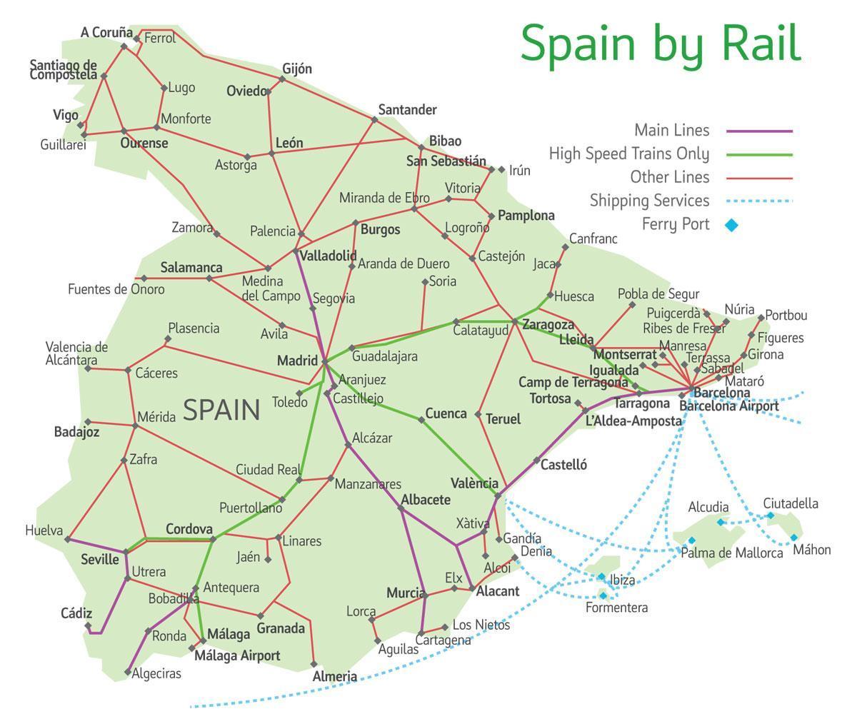 Espagne carte du train   Carte des itinéraires de train en Espagne