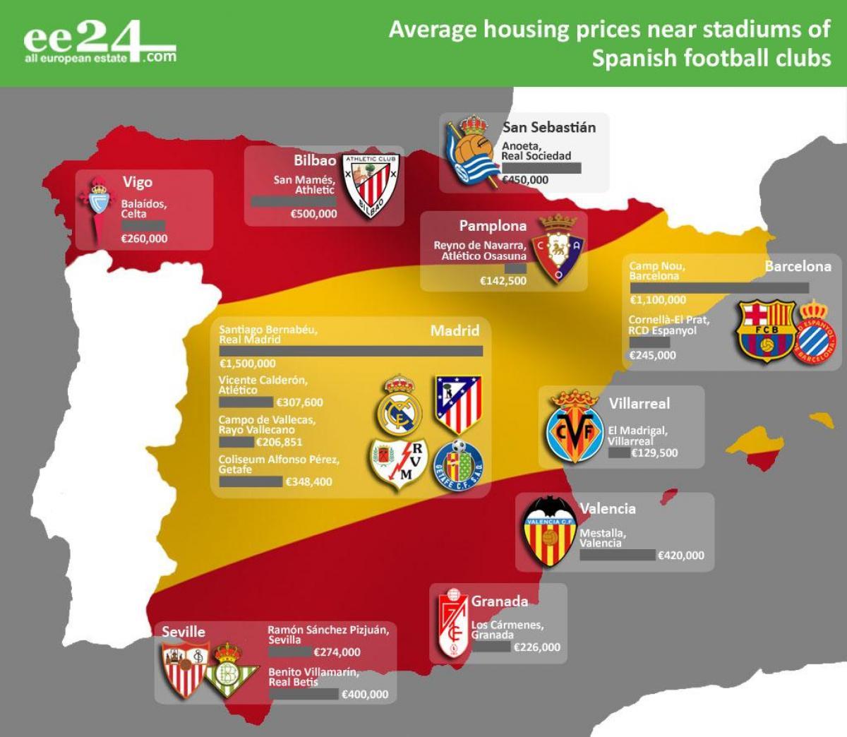 Club Foot Espagne Carte.Espagne Stade De Carte Carte De L Espagne Stadium Le Sud